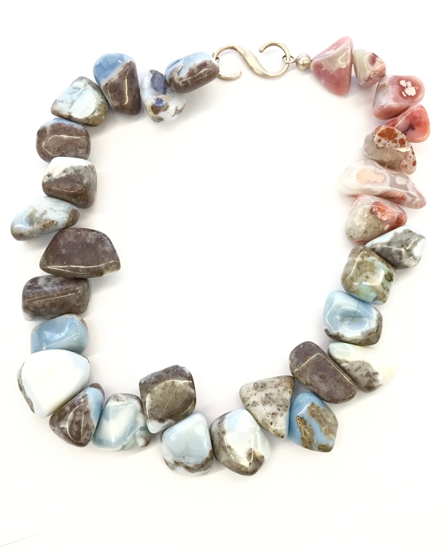 Blue Andean Opal & Moroccans Agate Necklace